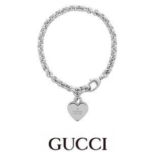 "New Authentic Gucci Heart Charm Bracelet 7"""